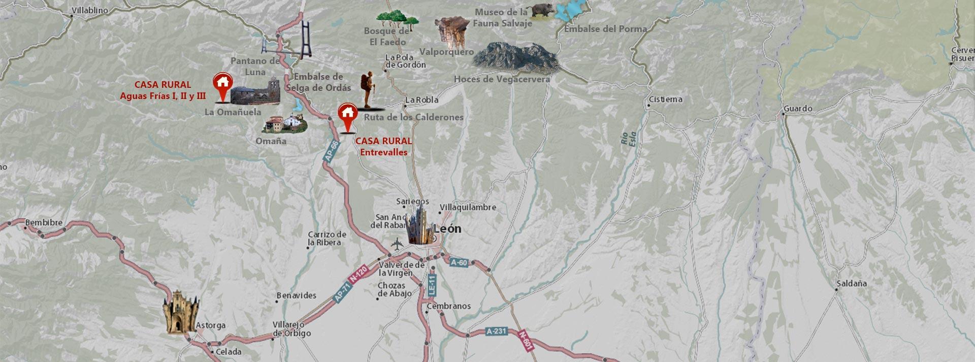 mapa casas rurales en león
